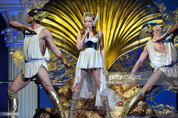 Kylie Minogue performs her Aphrodite Les Folies show at Cardiff International Arena on March 25 2011 in Cardiff Wales