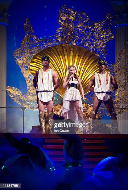 Kylie Minogue performs live during her 'Aphrodite' tour at the O2 Arena on April 7 2011 in London England