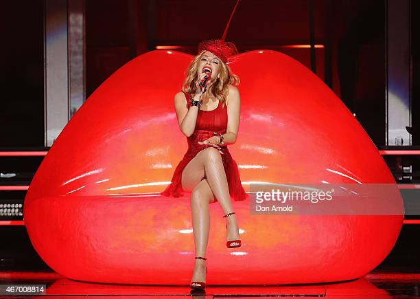 Kylie Minogue performs live for fans at Qantas Credit Union Arena on March 20 2015 in Sydney Australia