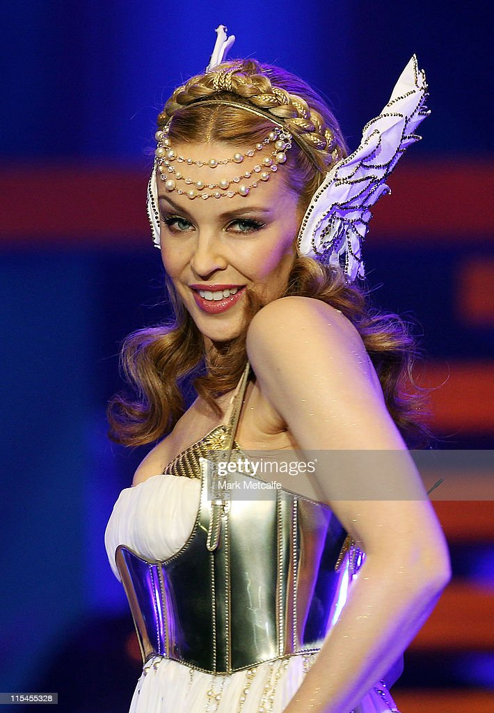 Kylie Minogue performs live on stage during her Aphrodite Les Folies tour at Sydney Entertainment Centre on June 7, 2011 in Sydney, Australia.