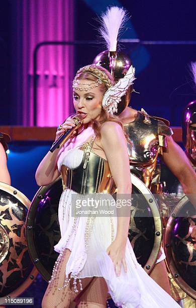 Kylie Minogue performs live on stage during the first leg of her Aphrodite Les Folies Tour at the Brisbane Entertainment Centre on June 3, 2011 in...