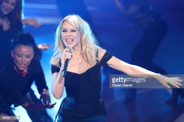 Kylie Minogue performs on stage during the 4th show of the 11th season of the television competition 'Let's Dance' on April 13 2018 in Cologne Germany
