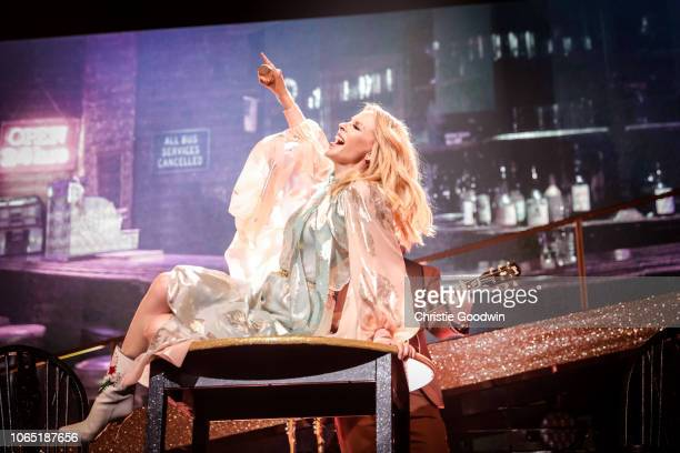 Kylie Minogue performs on stage on the opening night of the European leg of the Golden Tour at Cirque Royal on November 8 2018 in Brussels Belgium