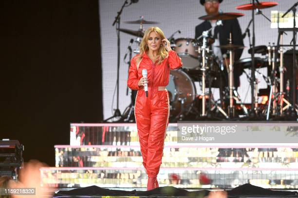 Kylie Minogue performs on the Pyramid stage during day five of Glastonbury Festival at Worthy Farm Pilton on June 30 2019 in Glastonbury England