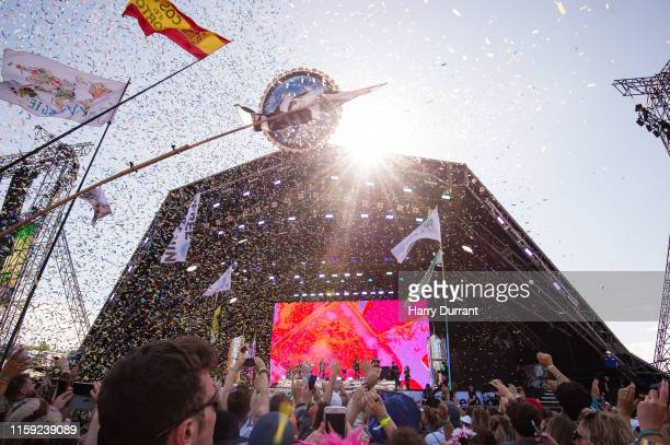Kylie Minogue performs on The Pyramid Stage during day five of Glastonbury Festival at Worthy Farm, Pilton on June 30, 2019 in Glastonbury, England.