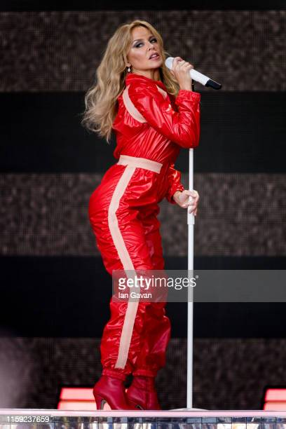 Kylie Minogue performs on the Pyramid stage on day five of Glastonbury Festival at Worthy Farm, Pilton on June 30, 2019 in Glastonbury, England.