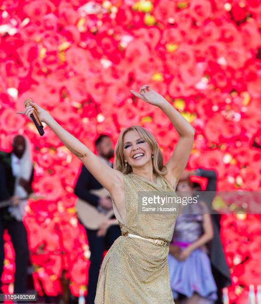 Kylie Minogue performs on the Pyramid Stage on day five of Glastonbury Festival at Worthy Farm Pilton on June 30 2019 in Glastonbury England