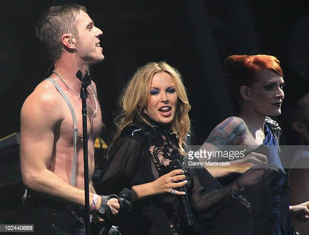 Kylie Minogue performs with Jake Shears and Ana Matronic of the Scissor Sisters at Glastonbury Festival at Worthy Farm on June 26 2010 in Glastonbury...