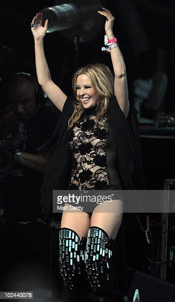Kylie Minogue performs with the Sissor Sisters at the 2010 40th Glastonbury Festival at Worthy Farm Pilton on June 26 2010 in Glastonbury England The...