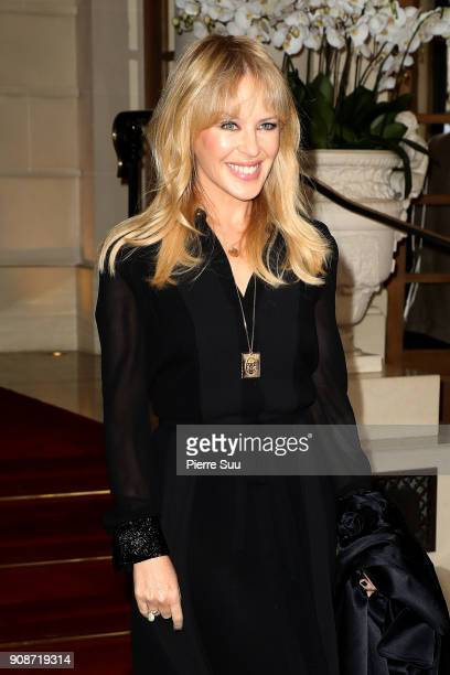 Kylie Minogue poses at the Ritz Hotel on January 22 2018 in Paris France