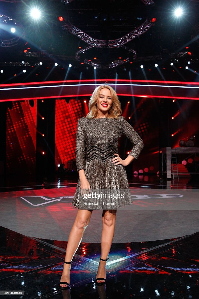 Kylie Minogue poses during a media call with the final five contestants and their coaches from The Voice at Fox Studios on July 20, 2014 in Sydney, Australia.