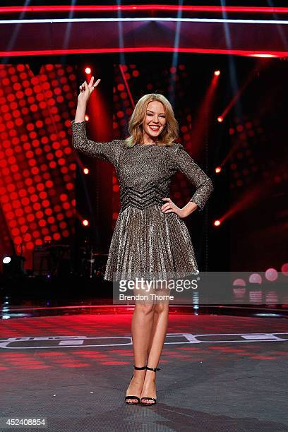 Kylie Minogue poses during a media call with the final five contestants and their coaches from The Voice at Fox Studios on July 20 2014 in Sydney...