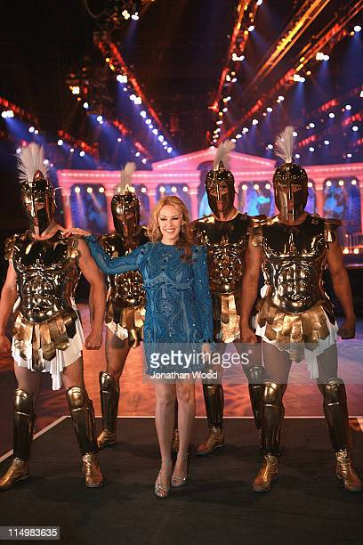 Kylie Minogue poses during a press conference to launch her Aphrodite Les Folies Tour in Australia at the Brisbane Entertainment Centre on June 1,...