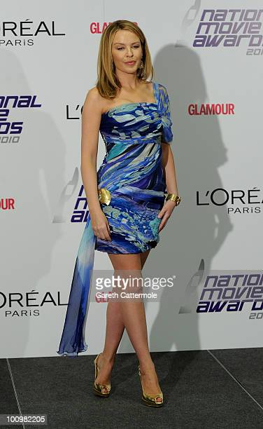Kylie Minogue poses in the winners room at the National Movie Awards 2010 at the Royal Festival Hall on May 26 2010 in London England