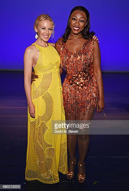 Kylie Minogue poses with cast member Beverley Knight onstage following a performance of 'The Bodyguard' at The Dominion Theatre on August 16 2016 in...
