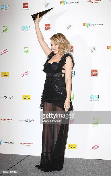 Kylie Minogue poses with the award for induction into the ARIA Hall of Fame at the 2011 ARIA Awards at Allphones Arena on November 27 2011 in Sydney...