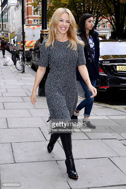 Kylie Minogue seen arriving at the Magic Radio Studios on October 30 2015 in London England Photo by Neil Mockford/Alex Huckle/GC Images