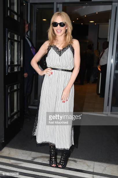 Kylie Minogue seen at BBC Radio 2 on June 15 2018 in London England
