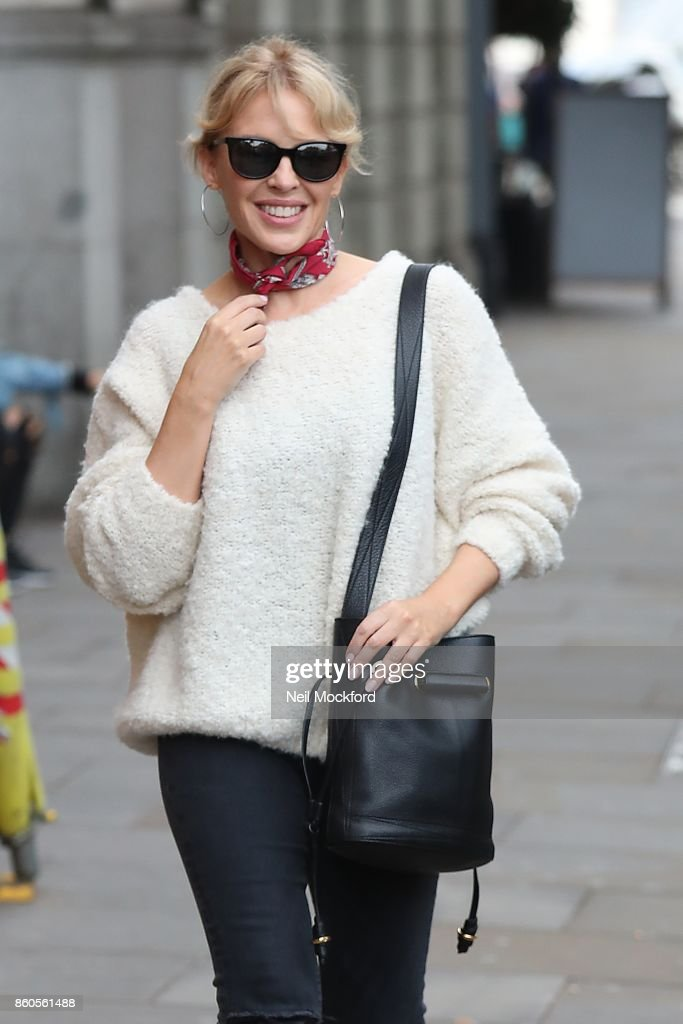 Kylie Minogue seen leaving a studio in Chelsea on October 12, 2017 in London, England.