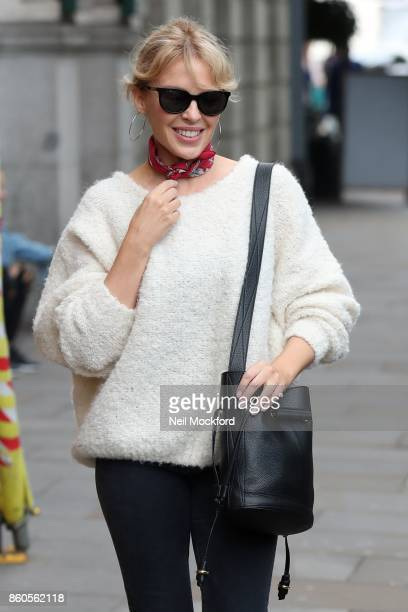 Kylie Minogue seen leaving a studio in Chelsea on October 12 2017 in London England