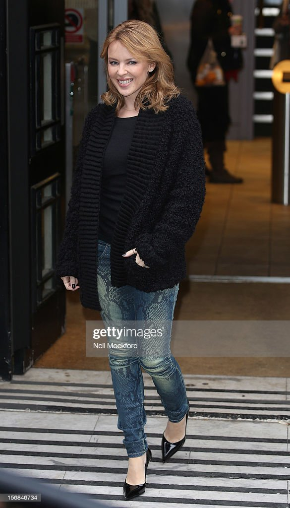 Kylie Minogue seen leaving BBC Radio 2 on November 23, 2012 in London, England.