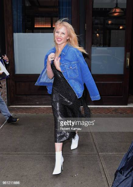 Kylie Minogue seen out and about in Manhattan on April 25 2018 in New York City