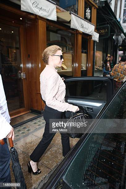 Kylie Minogue seen shopping at Chopards Jewellery shop on Old Bond Street on July 18, 2012 in London, England.