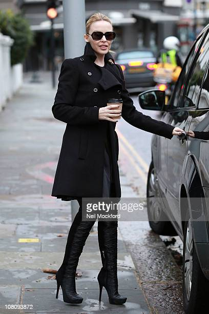 Kylie Minogue sighted leaving her home on January 17 2011 in London England
