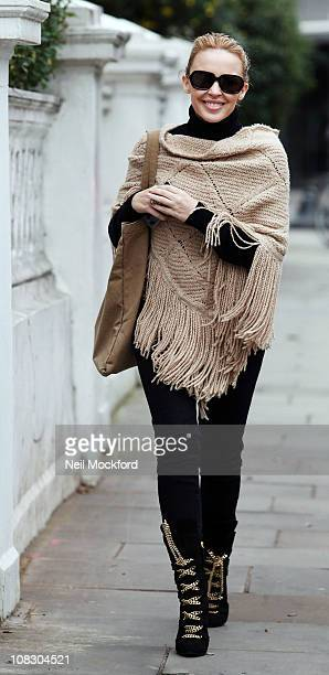 Kylie Minogue sighted leaving her home on January 25 2011 in London England