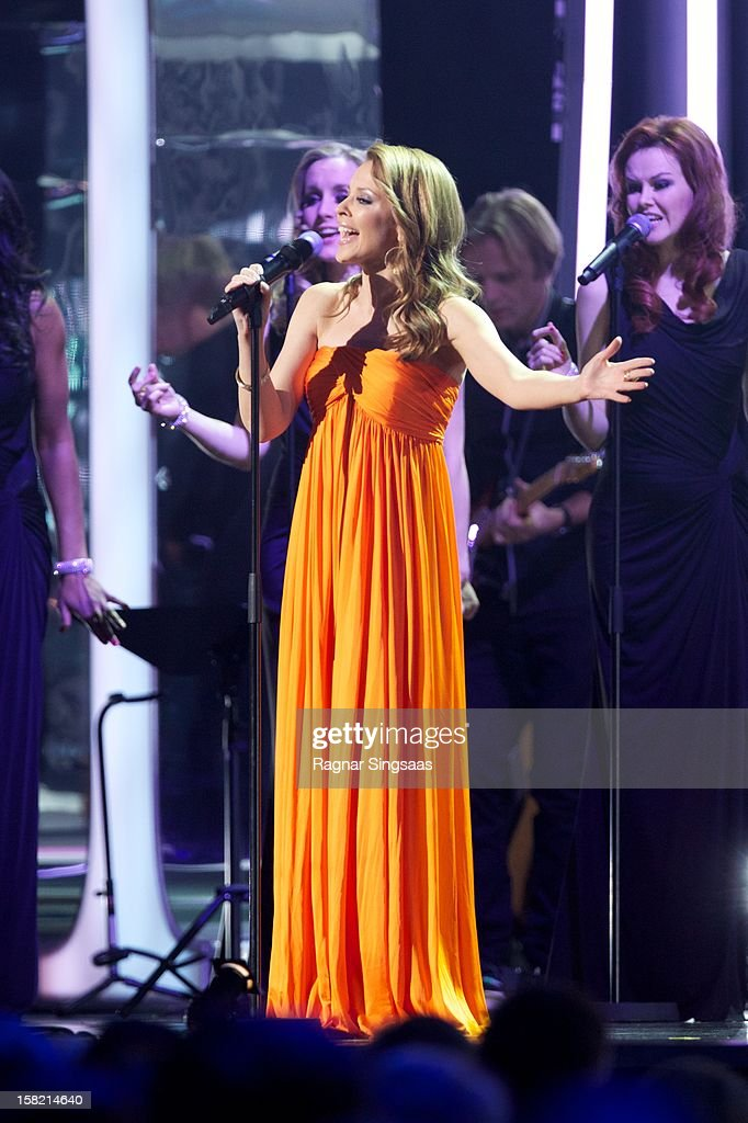Kylie Minogue sings at the Nobel Peace Prize Concert at Oslo Spektrum on December 11, 2012 in Oslo, Norway.