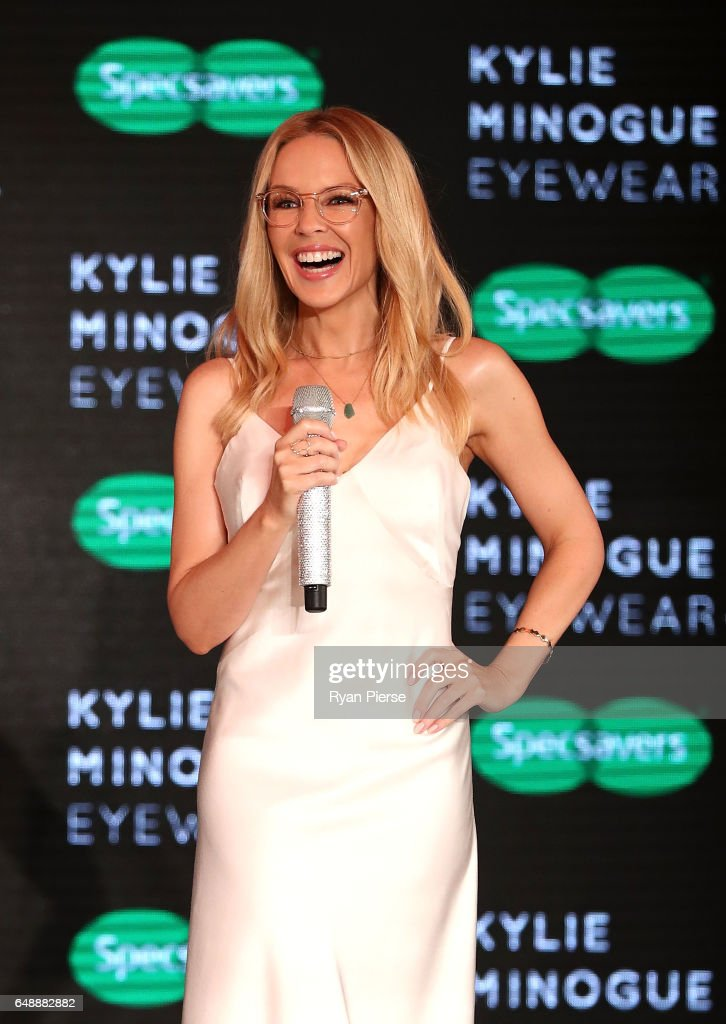 Kylie Minogue speaks on stage at the launch of her eyewear collection for Specsavers at the Establishment Ballroom on March 7, 2017 in Sydney, Australia.