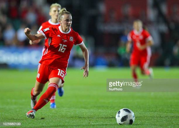 Kylie Nolan of Wales Women in action during 2019 FIFA Women's World Cup Group 1 qualifier between Wales Women and England Women at Rodney Parade...