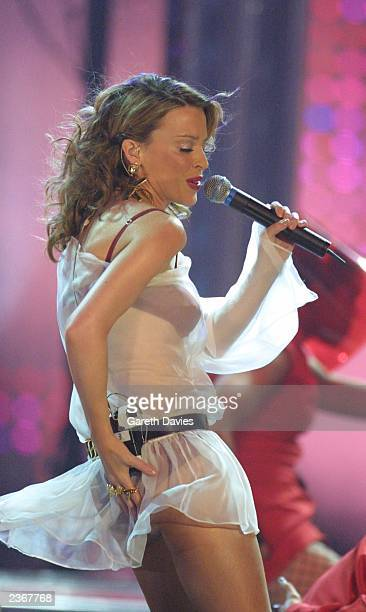 Kylie on stage performing at the MTV European Music Awards taken during the Mtv European Music Awards in Frankfurt, Germany. 11/8/2001 Photo by...