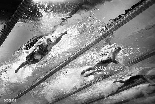 Kylie Palmer of Australia and Femke Heemskerk of the Netherlands compete un the Women's 200m Freestyle Final during Day Twelve of the 14th FINA World...