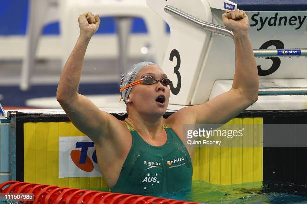 Kylie Palmer of Australia celebrates winning the Final of the Women's 200 Metre Freestyle during day three of the 2011 Australian Swimming...