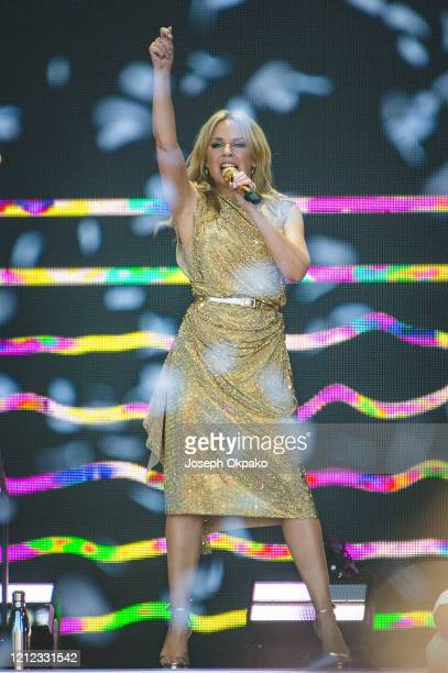 Kylie performs at the Other Stage during day five of Glastonbury Festival at Worthy Farm, Pilton on June 30, 2019 in Glastonbury, England.