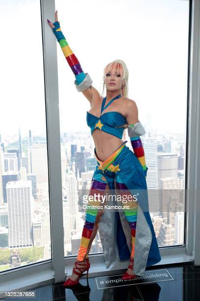 """Kylie Sonique Love attends as Empire State Building hosts the cast of """"RuPaul's Drag Race All Stars"""" Season 6 on June 24, 2021 in New York City."""