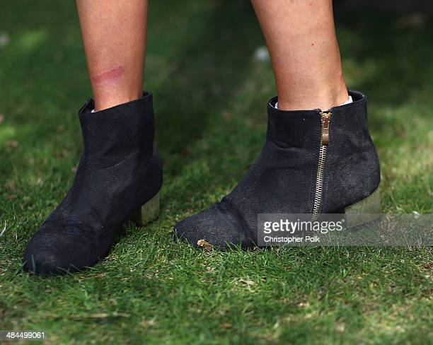 Kylie Tietjens of New Zealand attends day 2 of the 2014 Coachella Valley Music Arts Festival at the Empire Polo Club on April 12 2014 in Indio...
