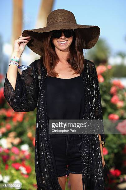 Kylie Tietjens of New Zealand wearing Karen Walker jewelry attends day 2 of the 2014 Coachella Valley Music Arts Festival at the Empire Polo Club on...