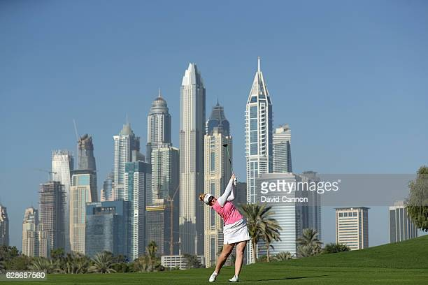 Kylie Walker of Scotland plays her second shot on the par 5, 13th hole during the delayed second round of the 2016 Omega Dubai Ladies Masters on the...