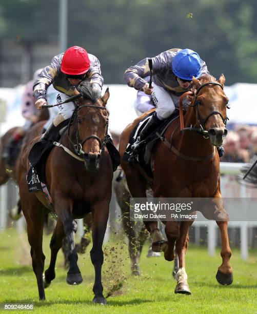 Kyllachy Star ridden by Paul Hanagan beats Pintura ridden by Jamie Spencer in the Layla Hotel Earl Grosvenor Handicap during the Boodles City Day at...