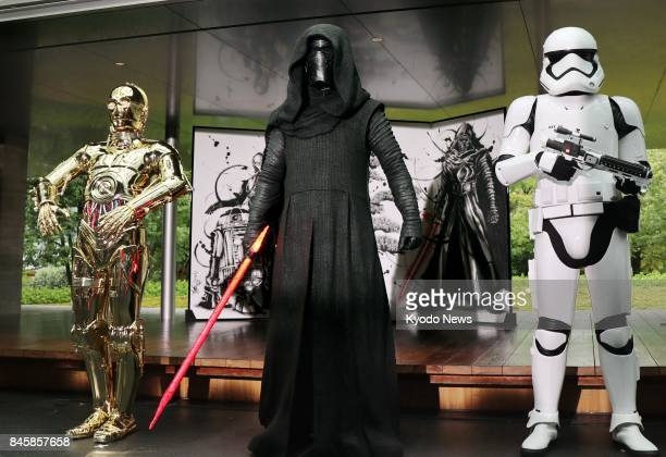 C3PO Kylo Ren and First Order Stormtrooper main characters of Star Wars The Last Jedi attend a promotional event at Byodoin Temple in Uji Kyoto...