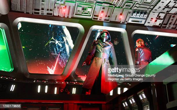 "Kylo Ren and General Hux on the deck of a Star Destroyer during Rise of the Resistance at Star Wars: Galaxy""u2019s Edge inside Disneyland in Anaheim,..."