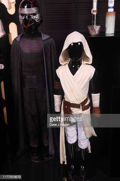 Kylo Ren and Rey costumes by Rubies on display at the global live-stream event at Pinewood Studios revealing new Star Wars merchandise, on September...