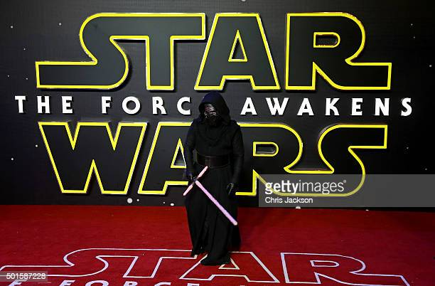 Kylo Ren attends the European Premiere of Star Wars The Force Awakens at Leicester Square on December 16 2015 in London England