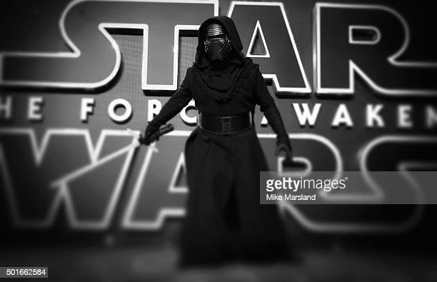 "Kylo Ren attends the European Premiere of ""Star Wars: The Force Awakens"" at Leicester Square on December 16, 2015 in London, England."