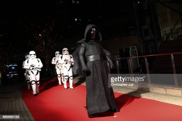 Kylo Ren leads stormtroopers during the 'Star Wars The Last Jedi' Japan Premiere Red Carpet at Roppongi Hills on December 6 2017 in Tokyo Japan