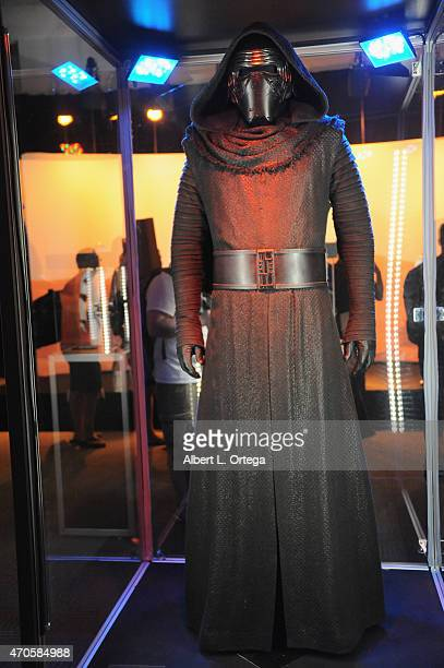 Kylo Renn's Costume on display inside the 'Star Wars The Force Awakens' exhibit on Day One of Disney's 2015 Star Wars Celebration held at the Anaheim...