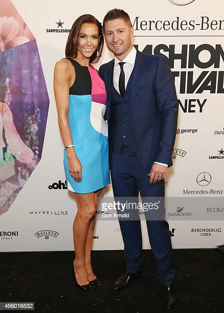 Kyly Clarke and Michael Clarke arrive at the MB Presents Australian Style show during MercedesBenz Fashion Festival Sydney at Sydney Town Hall on...