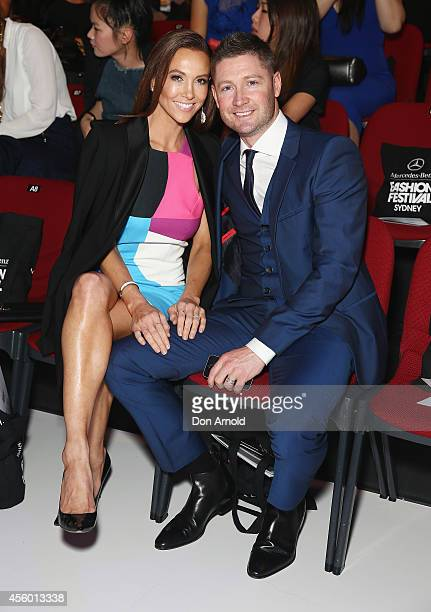 Kyly Clarke and Michael Clarke attend the MB Presents Australian Style show during MercedesBenz Fashion Festival Sydney at Sydney Town Hall on...